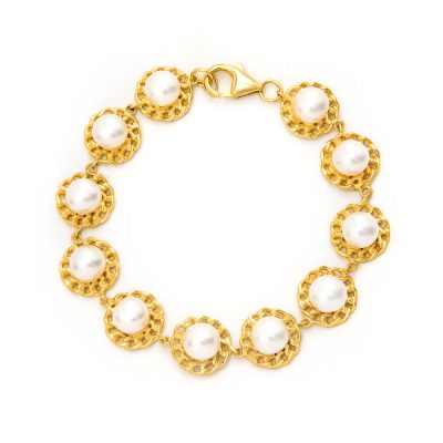 pearl bracelet in gold plated sterling silver - 04-568
