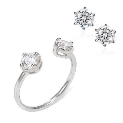 ring and earrings set with white zirconia