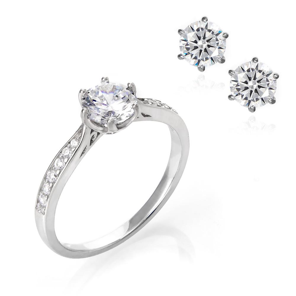 Μονόπετρο δαχτυλίδι από ασήμι με δώρο σκουλαρίκια  d763af931c9