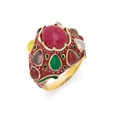 Δαχτυλίδι με κόκκινο σμάλτο και πολύχρωμες πέτρες