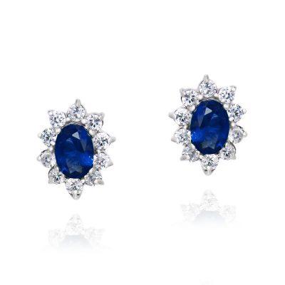 Κλασσικά σκουλαρίκια ροζέτες με μπλε πέτρες