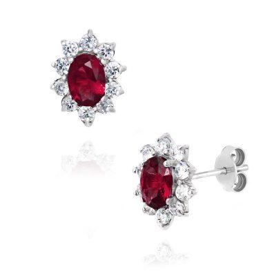 Κλασσικά σκουλαρίκια ροζέτες με κόκκινες πέτρες