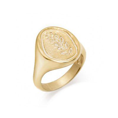 Επίχρυσο μοντέρνο γυναικείο δαχτυλίδι με ανάγλυφο σχέδιο φύλλο ελιάς