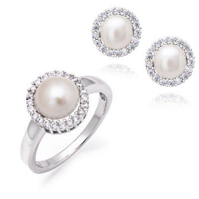 Σετ δαχτυλίδι και σκουλαρίκια με μαργαριτάρια