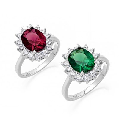 Σετ δαχτυλιδιών ροζέτα με κόκκινη και πράσινη πέτρα ζιργκόν