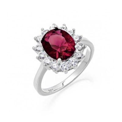 Ασημένιο γυναικείο δαχτυλίδι ροζέτα με κόκκινη πέτρα