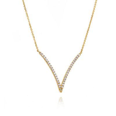 Μοντέρνο γεωμετρικό χρυσό κρεμαστό με λευκές πέτρες σε σχήμα V