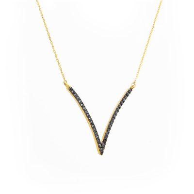 Μοντέρνο γεωμετρικό χρυσό κρεμαστό με μαύρες πέτρες σε σχήμα V